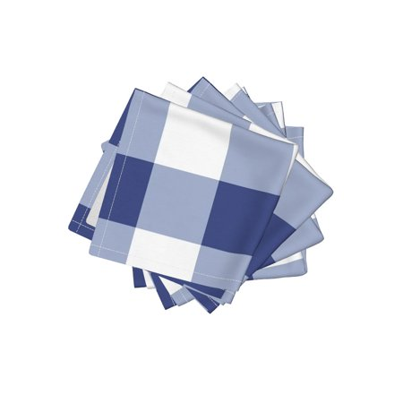 Gingham Cocktail - Cocktail Napkins Gingham Gingham Check Blue And White Savoy Cobalt Set of 4