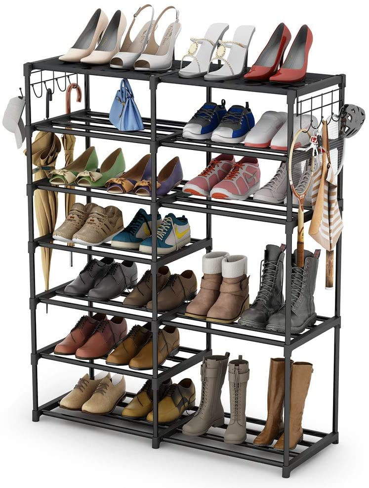 Shoe Rack Decorative Gunmetal Grey Wood and Metal Spray Sturdy Design Organizer