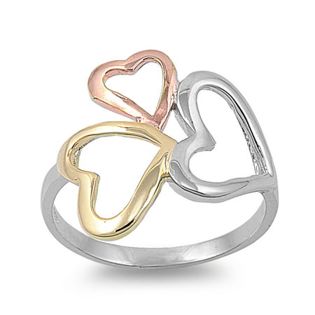 - 925 Sterling Silver Tri Color Hearts Ring Size 10