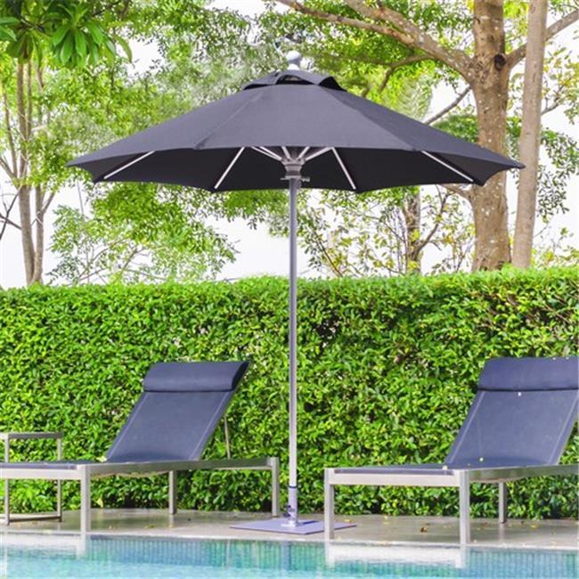 Galtech 7.5 ft. Silver Deluxe Commercial Use Umbrella - Mandarin Orange Suncrylic