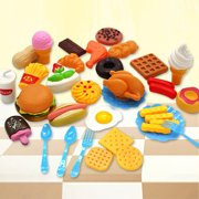 34pcs Mini Hamburg French Fries Hot Dog Ice Cream Cola Food Plastic Fast Food Playset for Children Pretend Play Gift for Kids without Basket