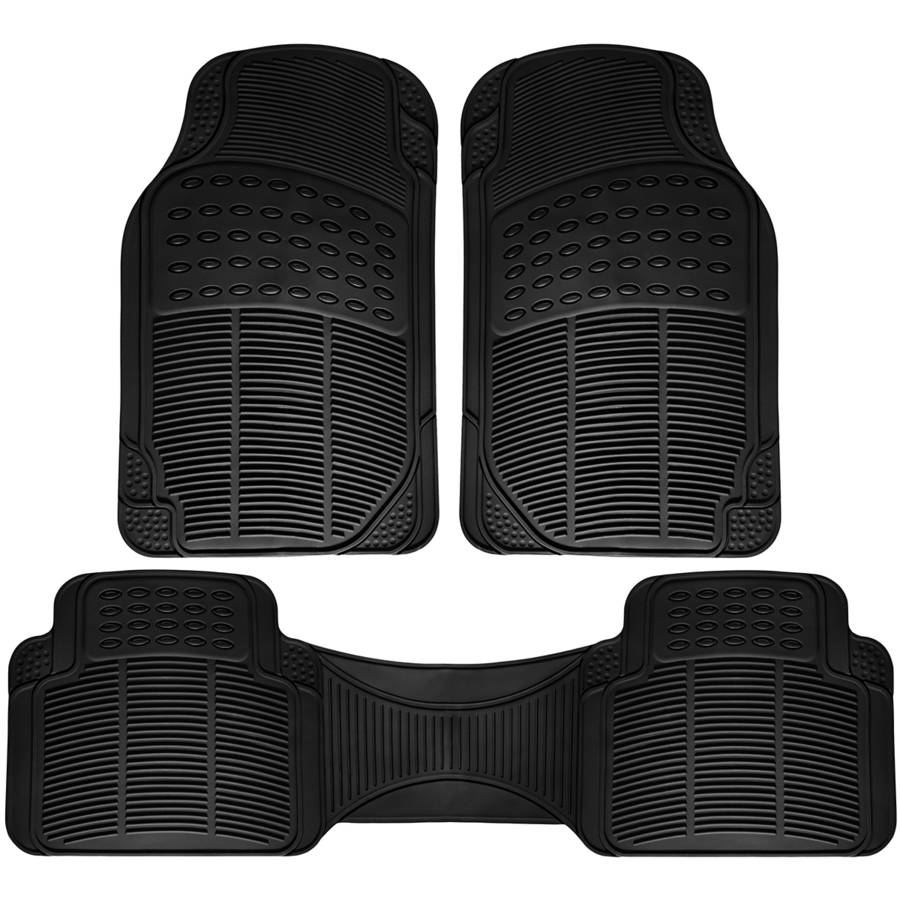 OxGord Universal Fit 3-Piece Full Set Ridged Heavy Duty Rubber Floor Mat, Black