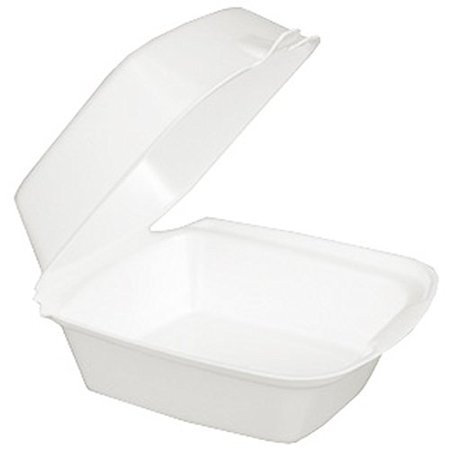 Dart 60HT1, 8x6x3-Inch Performer White Rectangular Sandwich Foam Container With A Hinged Lid, Carryout Food Disposable Snack Containers (50)](Sandwich Platter Containers)
