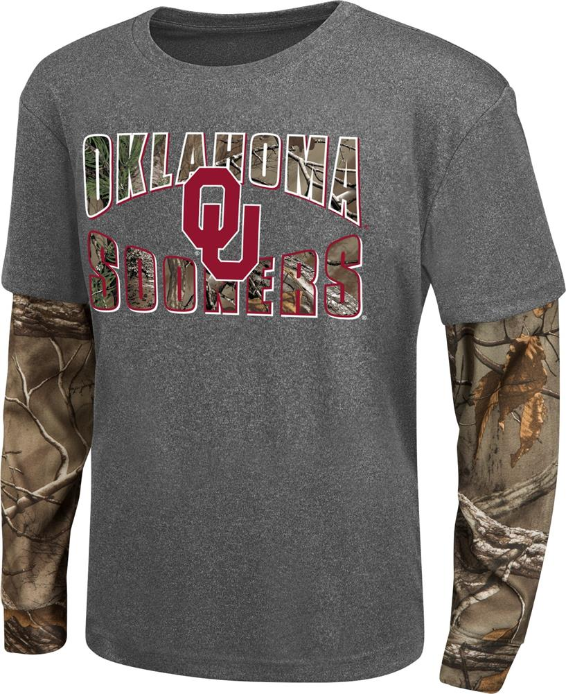 Youth Camo Layered University of Oklahoma Sooners Long Sleeve Tee by Colosseum