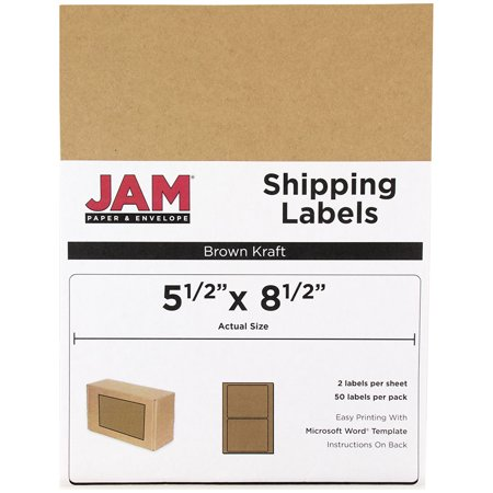 Rectangle Brown Kraft Label Sheet (JAM Paper Shipping Labels, Half Sheet, 5 1/2 x 8 1/2, Brown Kraft, 50/pack)