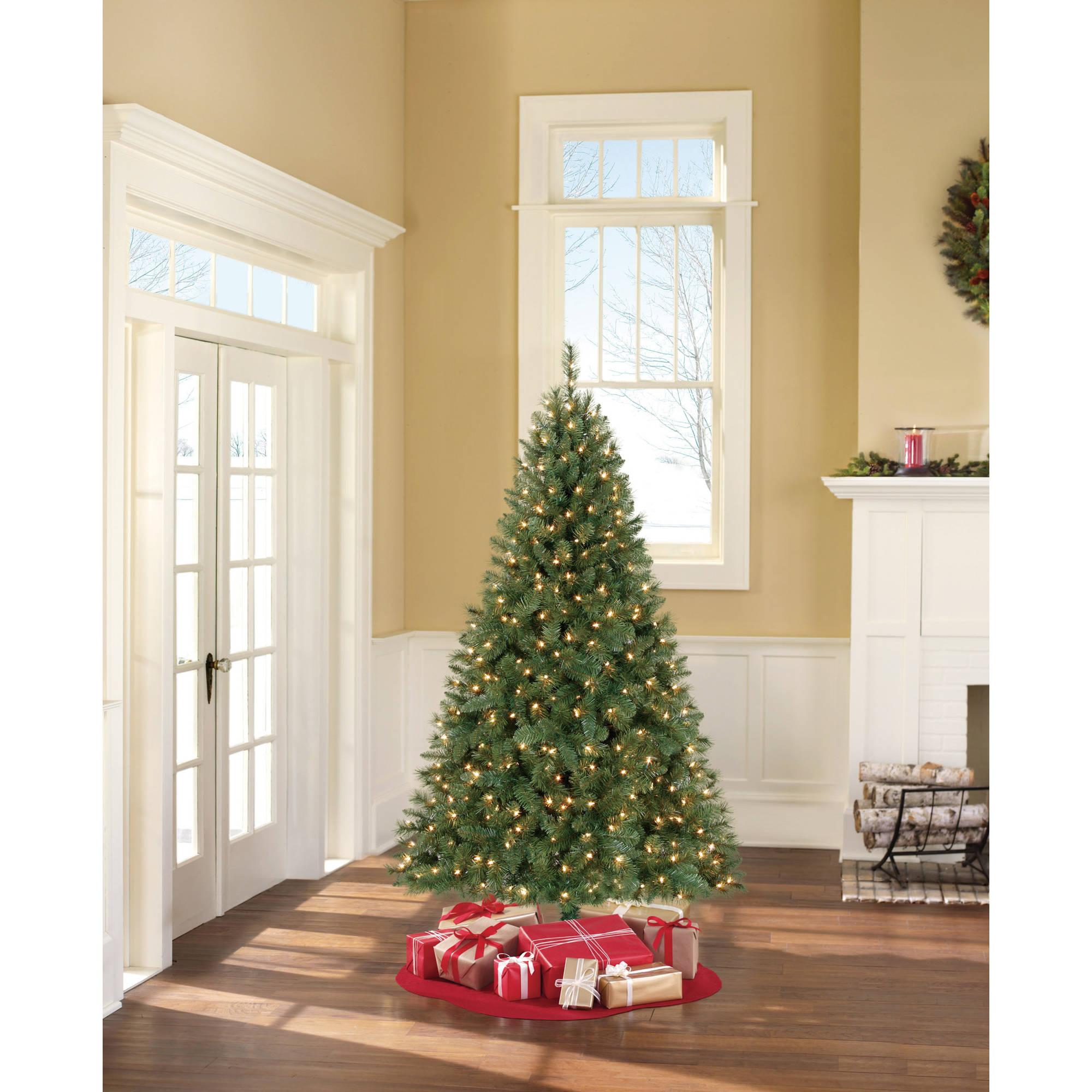 Holiday Time Pre-Lit 6.5' Windham Pine Artificial Christmas Tree, Clear Lights