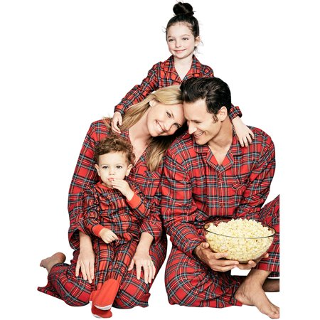 ZXZY Matching Family Pajamas Sets Plaid Printing Home Pajamas Outfit - Matching Pajamas For The Family