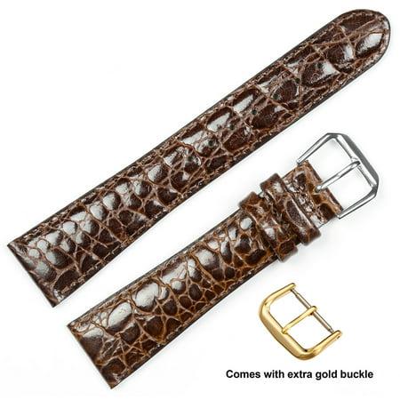 Florida Gators Womens Watch (deBeer brand Alligator Grain Watch Band (Silver & Gold Buckle) - Brown 14mm)