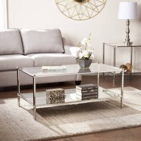 Parell Glam Metal and Glass Coffee Table, Metallic Silver by Ember Interiors