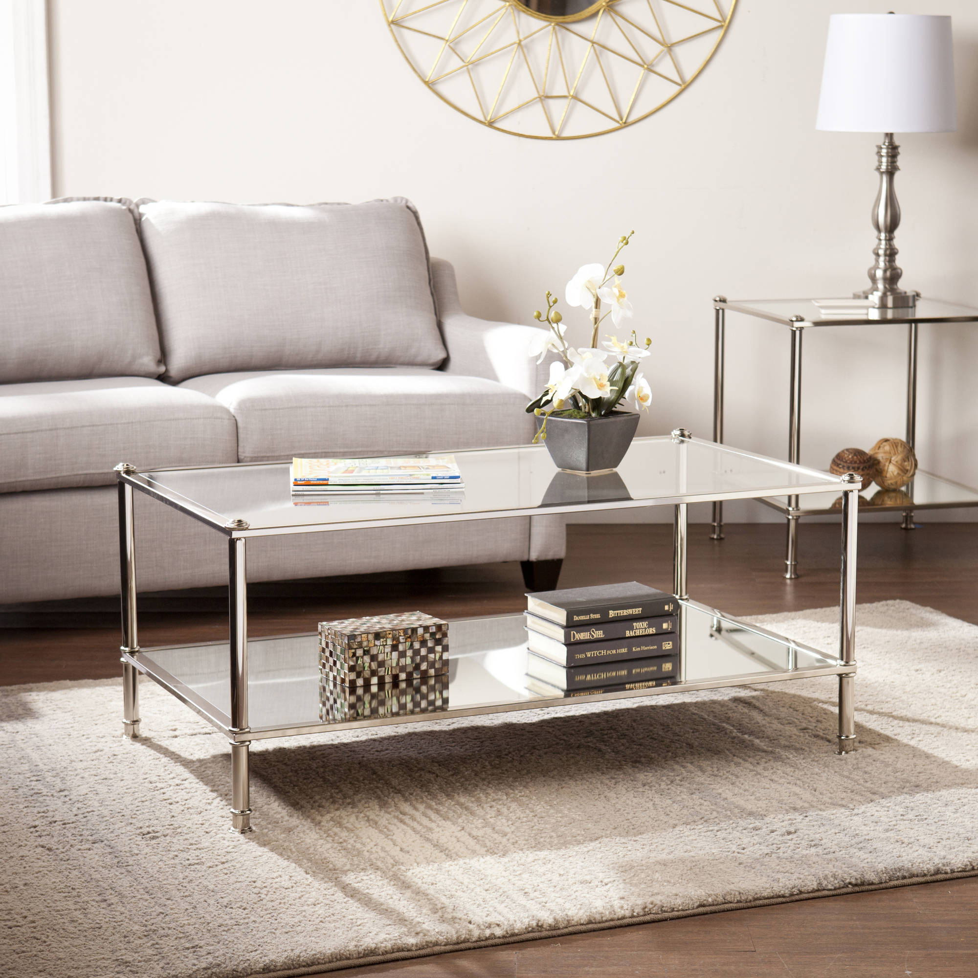 Southern Enterprises Parell Metal And Glass Coffee Table, Metallic Silver