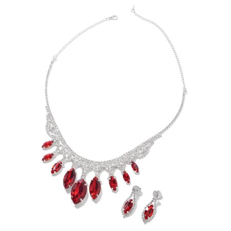 Glass Necklace Earring Set (Earrings Necklace Set Red Glass White Crystal Gift Jewelry for Women Size 21