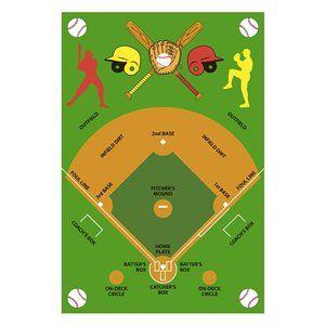 Fun Rugs Kids Time Baseball Field Kids Rug 3-ft 3-in 4-ft...