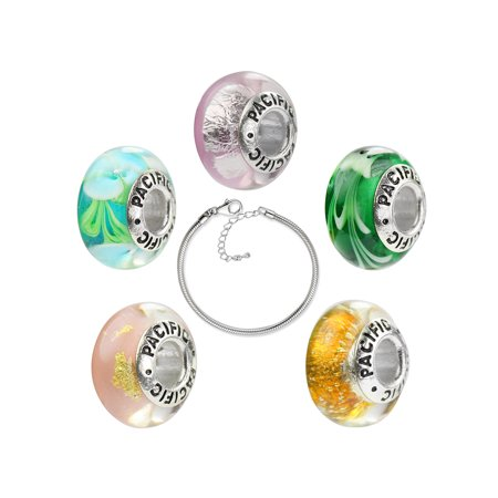 925 Sterling Silver Core and Glass Bead 5 Pack with Bracelet