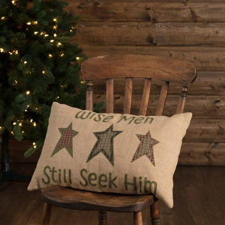 Natural Tan Seasonal Decor Wise Men Jute Embroidered Textured Star Rectangle Pillow (Pillow Cover, Pillow Insert)