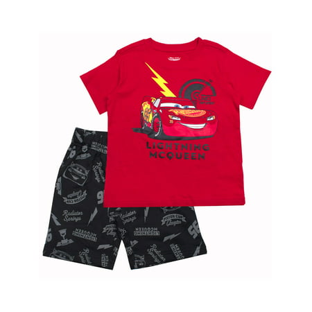 Short Sleeve Lightning McQueen Tee and French Terry Shorts, 2-Piece Outfit Set (Little - French Maids Outfit