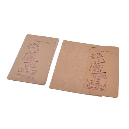 Greeting Card Gift Set - Unique Bargains Kraft Paper Gift Box Pattern Hollow Out Design Greeting Card 3 Sets