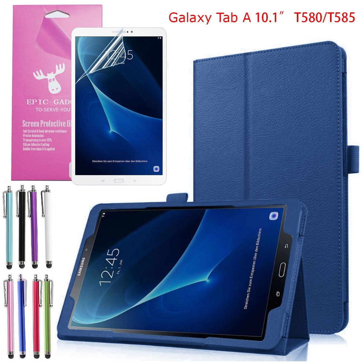 "(SM-T580/T585) Galaxy Tab A 10.1"" Folio Case, EpicGadget(TM) Lightweight Slim Smart Cover Leather Case Stand Cover with Auto Sleep/Wake for Tab A 10.1 Tablet + Tab A 10.1 Screen Protector (Navy Blue)"