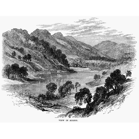 Acadia 19Th Century Nacadia The Former French Colony Approximating The Extent Of What Is Now Known As Nova Scotia Wood Engraving 19Th Century Rolled Canvas Art     18 X 24