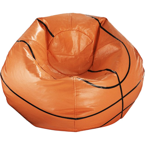 "96"" Round Vinyl Bean Bag, Basketball"