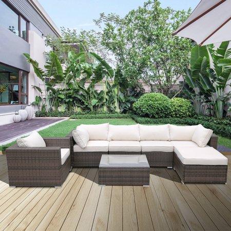7-Piece Patio Furniture Sets on Sale, SEGAMRT 7-Piece Wicker Patio Conversation Furniture Set w/ Seat Cushions & Tempered Glass Coffee, Wicker Sofa Sets for Porch Poolside Backyard Garden, S13078 ()