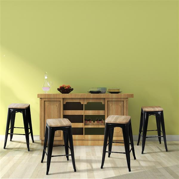 Yaheetech 4pcs Metal Counter Bar Stool Kitchen Pub Barstool 26'' W/Wood Seat 331Lb