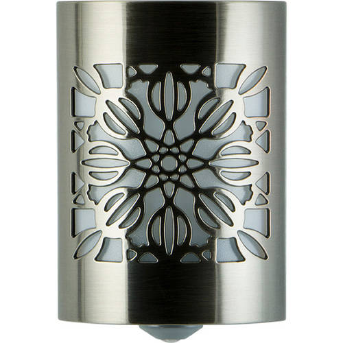GE CoverLite LED Plug-In Night Light, Floral Design, Brushed Nickel, 29845