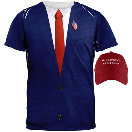 President Donald Trump Costume Shirt And Hat Bundle