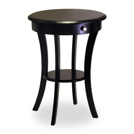 Pemberly Row Wood Round Accent End Table with Drawer Curved Legs in Black