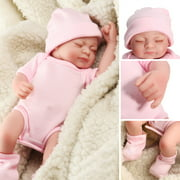 OUBEIER 11'' Reborn Newborn Sleeping Baby Doll Girl Realistic Looking Soft Silicone Vinyl Dolls for Children Toddler Christmas Gifts for Ages 3+