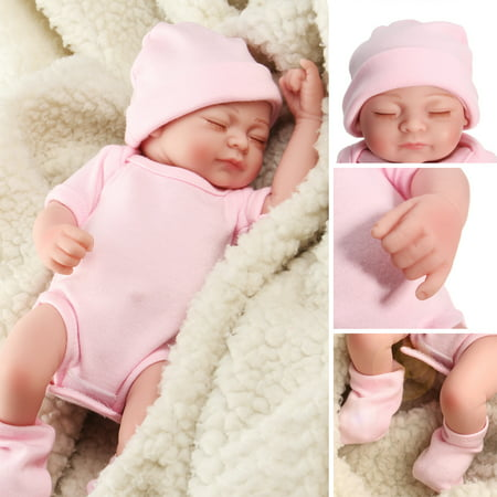 NPK 11'' Non-toxic Realistic Lifelike Realike Sweet Dream Newborn Reborn Baby Girl Doll Shower Toy Silicone Vinyl Handmade Kid Pretend Role Play Toy Weighted Alive Doll with Clothe ()