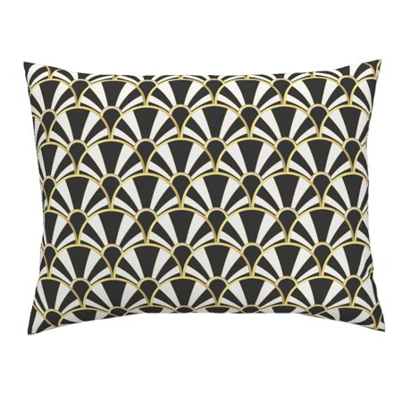 Art Deco Fans Black And White Black And White 1920S Art Pillow Sham by Roostery