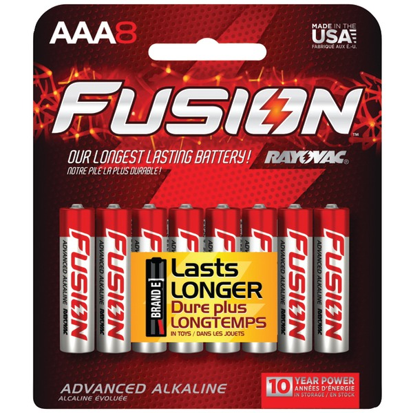 Rayovac Fusion High-Power Alkaline Batteries, Size AAA, 8-Pack