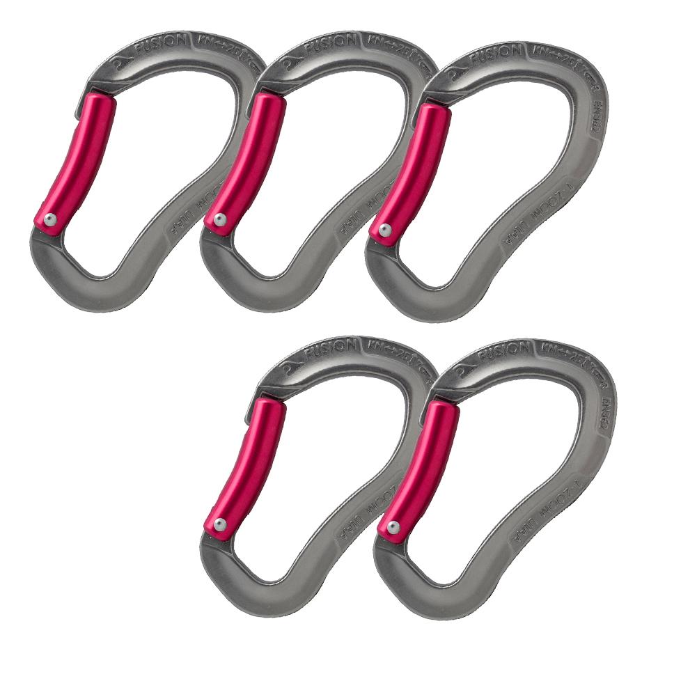 Fusion Climb Techno Zoom Bent Gate Ergonomic Carabiner Gray/Red 5-Pack