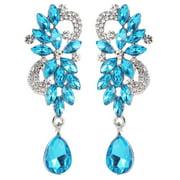 Jocestyle Glossy Rhinestone Dangle Ear Stud Women Glitter Drop Earrings Jewelry Gift