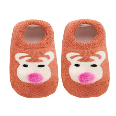 Unisex infant Baby Cute Animals Soft Cotton Socks Anti-Slip Slipper Socks (Orange Deer, L/12-24 Months)