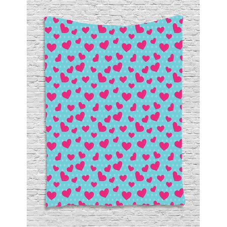 Pop Art Decor Tapestry, Retro 50s Style Image with Hearts Abstract Polka Dots Art Print, Wall Hanging for Bedroom Living Room Dorm Decor, 40W X 60L Inches, Hot Pink and Turquoise, by Ambesonne - 50's Style Home Decor
