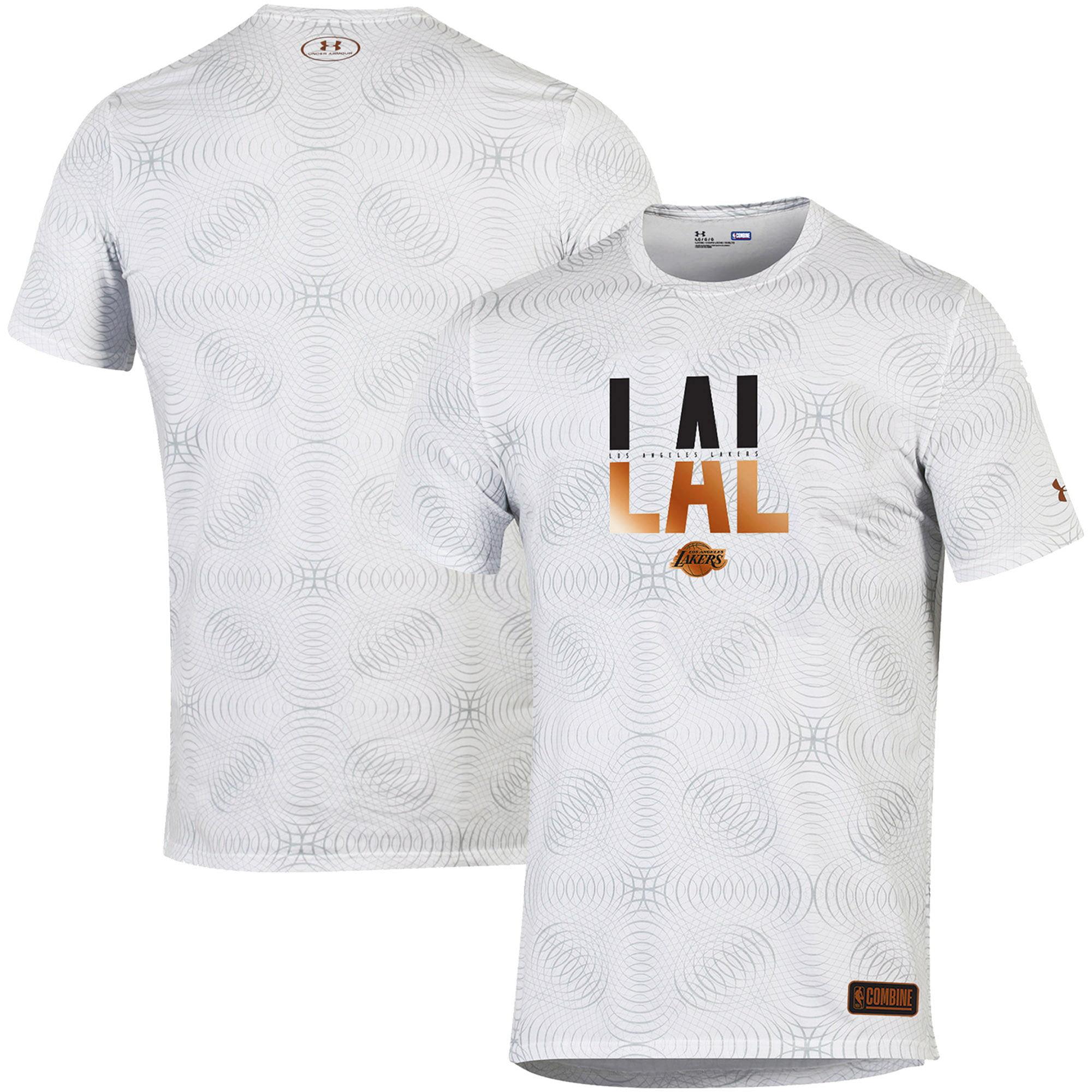 Los Angeles Lakers Under Armour Combine Authentic Alpha Long Line Tri-Blend Performance T-Shirt - White