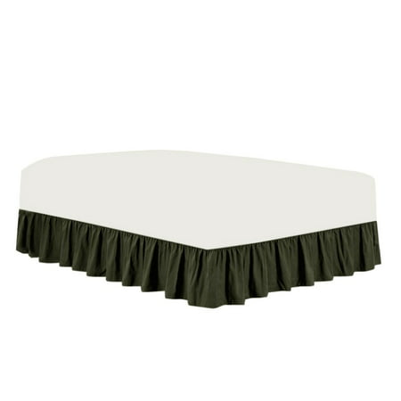 The Great American Store- 3 Side Coverage Ruffle/Gathered Bed Skirt with 19 Inch Drop Length (Expanded Queen, Solid Grey) 1800 Series Brushed Microfiber - Covers Bed Legs and Frame