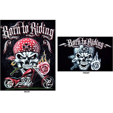Born To Riding Skull Motorcycle Chopper Screen Printed Cotton T-Shirts : XLarge - Gifts  -