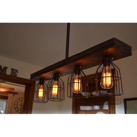 West Ninth Vintage Triple Wood 4-Light Kitchen Island Pendant ... on