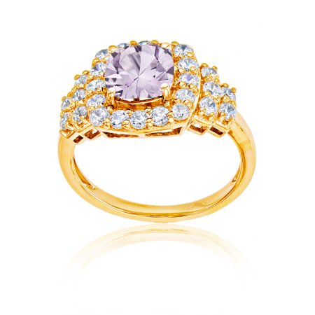10K Yellow Gold 7mm Cushion Rose De France & Round White Topaz Ring