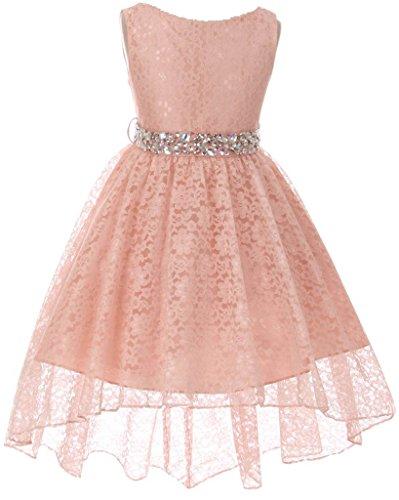 Big Girl Flower Girl Dress Hi-Low Style Lace Allover Blush 10 MBK360