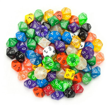 Wiz Dice 100+ Pack of Random D10 Polyhedral Dice in Multiple Colors