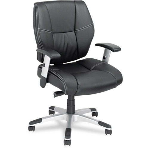 Alera NP42LS10S Napoleon Series Petite Mid-Back Multifunction Leather Chair, Black/Chrome