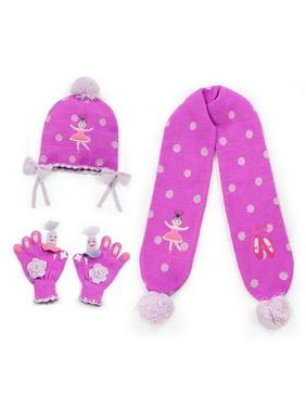 Girls Pink Ballerina Hat Scarf Gloves Handmade Winter Set