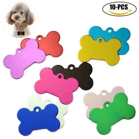 10Pcs Pet Tag set, Legendog Bone Shape Aluminum Pet ID Tag Pet Personalized Tag without Engraving for Cat Dog for $<!---->