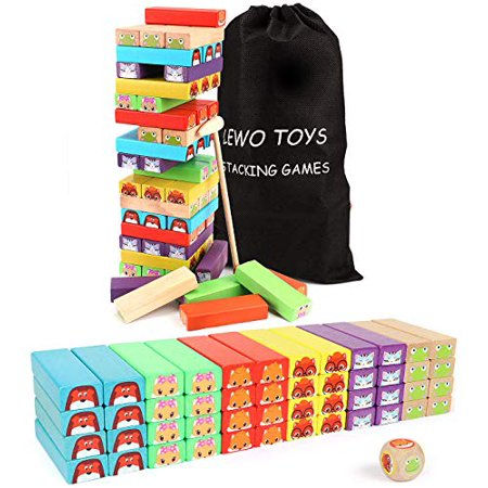 Lewo colored Stacking game Wooden Building BlocksTower Board games for Kids Adults 54 Pieces (colorful Stacking gane) - image 2 of 4