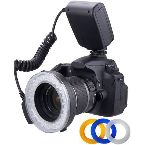 Polaroid 48 Macro LED Ring Flash & Light Includes 4 Diffu...