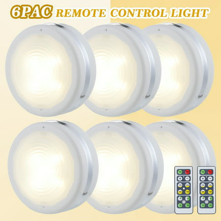 Wireless LED Puck Lights, Kitchen Under Cabinet Lighting with Remote Control, Battery Powered Dimmable Closet Lights 6-Pack For Kitchen, Closet, Cabinet, Bookcase, Basement - image 10 de 10
