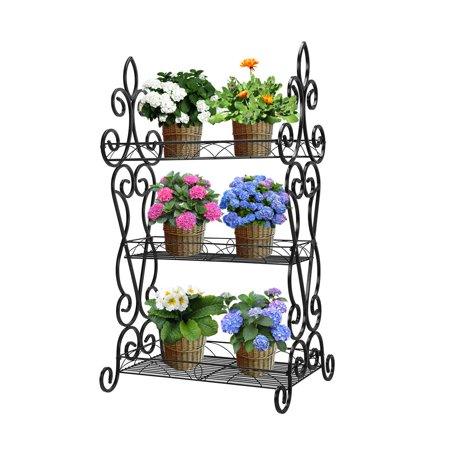 Classic Metal Plant Stand 3-tier Potted Flower